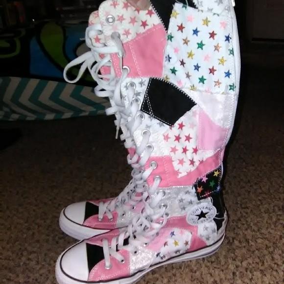 Knee high pink patchwork Converse